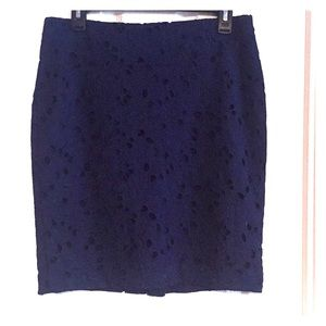 Navy blue lace patterned skirt. Never worn!